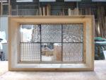 ステンドグラス格子のFIX室内窓(無塗装)-1007