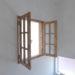 気泡ガラスの2枚観音開き室内窓-885