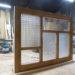 室内窓実例/デザイン格子のニッチ面台付きFIX窓(パッチワークガラス)-965