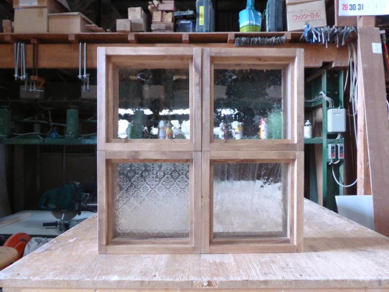 木製室内窓・FIX窓・オーダー(25×25、4個)