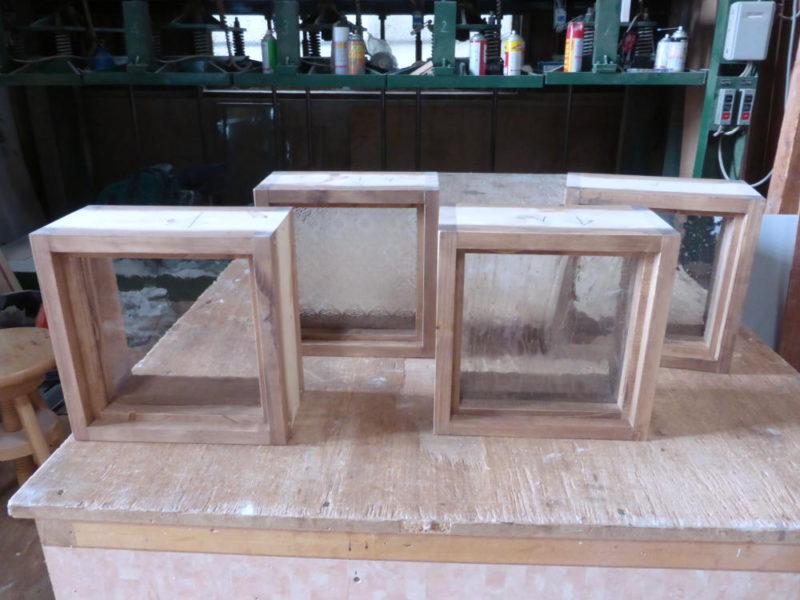 木製室内窓(FIX窓・オーダー)/左から、アーティスタガラス・フローラガラス・泡入りガラス・気泡ガラス(外側正面)