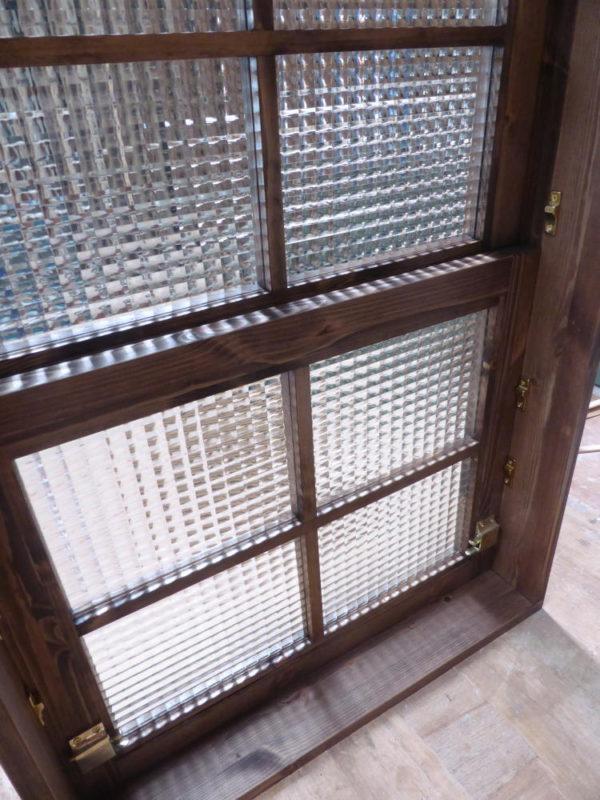 木製電車窓・チェッカーガラス・十字格子