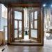 変形格子とパッチワークガラスの観音開き室内窓-1009