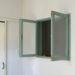 ブルーグリーン色の室内窓(アンティークペイント仕上げ・フローラガラス)-295